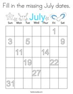 Fill in the missing July dates Coloring Page