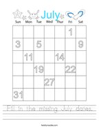 Fill in the missing July dates Handwriting Sheet