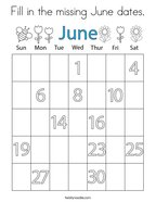 Fill in the missing June dates Coloring Page