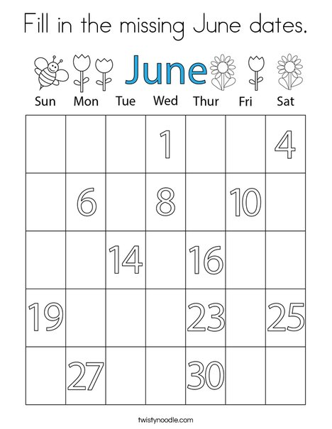 Fill in the missing June dates. Coloring Page