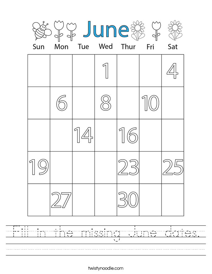 Fill in the missing June dates. Worksheet
