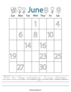 Fill in the missing June dates Handwriting Sheet
