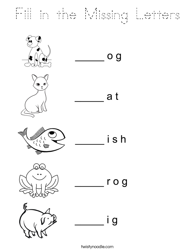 Fill in the Missing Letters Coloring Page