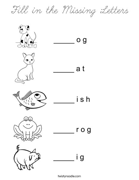 Fill in the missing letter animals Coloring Page