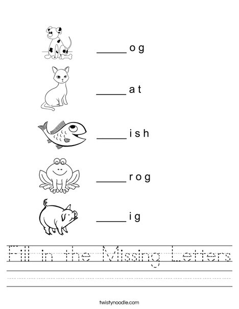 Fill in the missing letter animals Worksheet