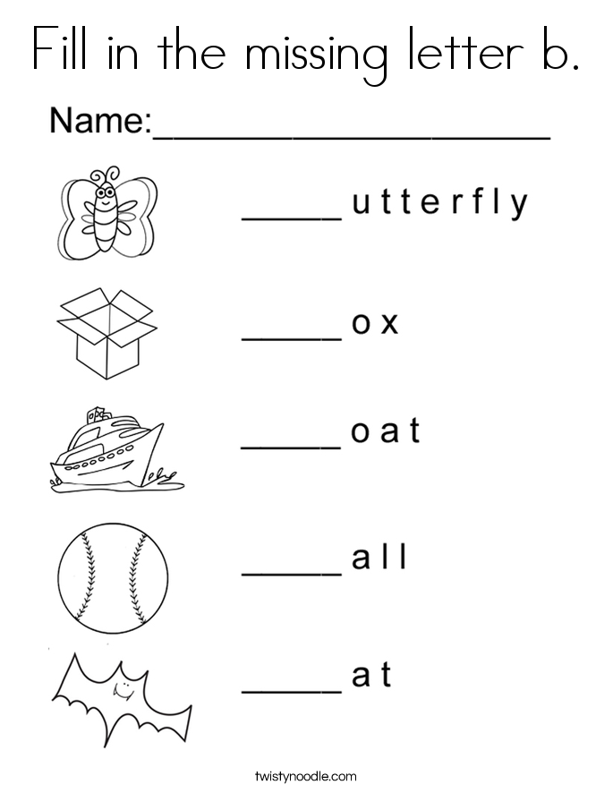 Fill in the missing letter b. Coloring Page