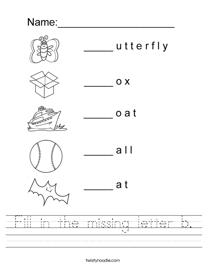 Fill in the missing letter b. Worksheet