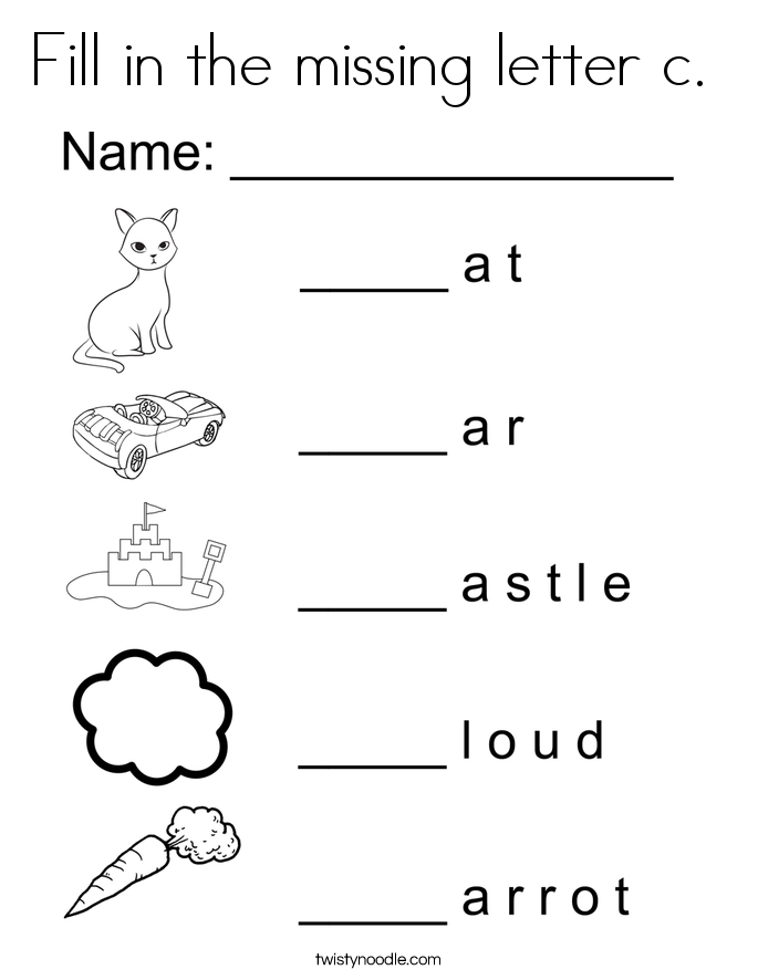 Fill in the missing letter c.  Coloring Page