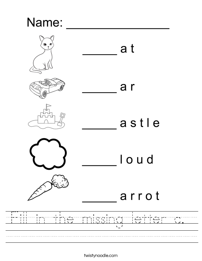 Letter C Worksheets Twisty Noodle – Letter C Worksheets Kindergarten