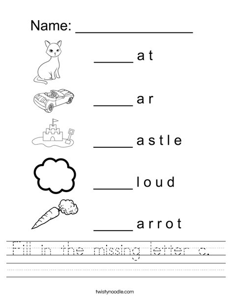 Fill in the missing letter c Worksheet - Twisty Noodle
