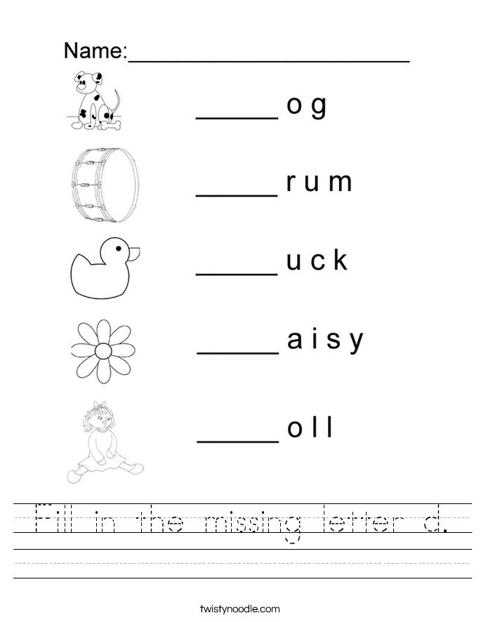 Worksheets Letter D Worksheets letter d worksheets twisty noodle fill in the missing handwriting sheet