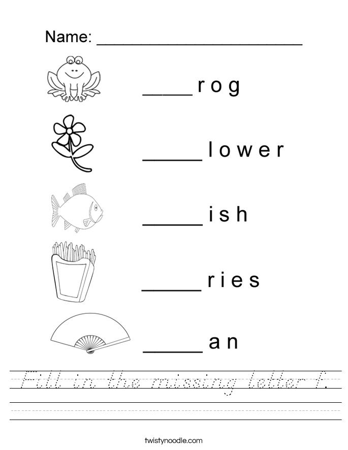 Fill in the missing letter f. Worksheet