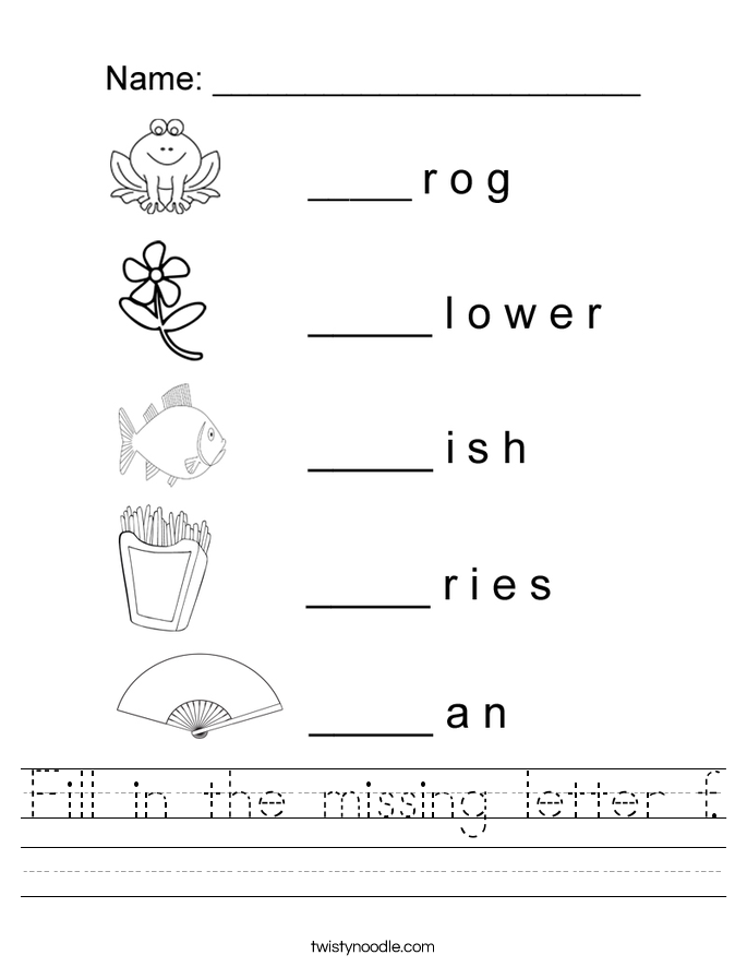 Fill in the missing letter f. Worksheet