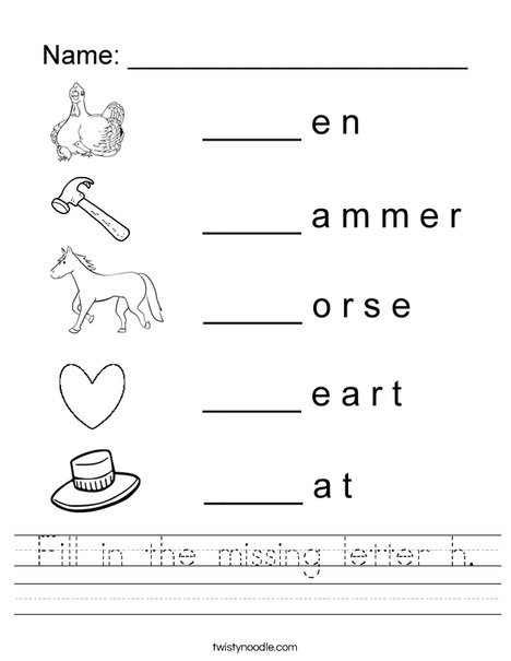 Fill in the missing letter H Worksheet