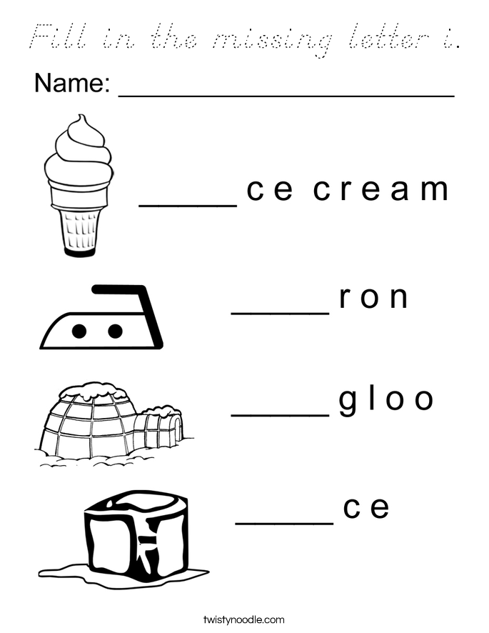 Fill in the missing letter i. Coloring Page