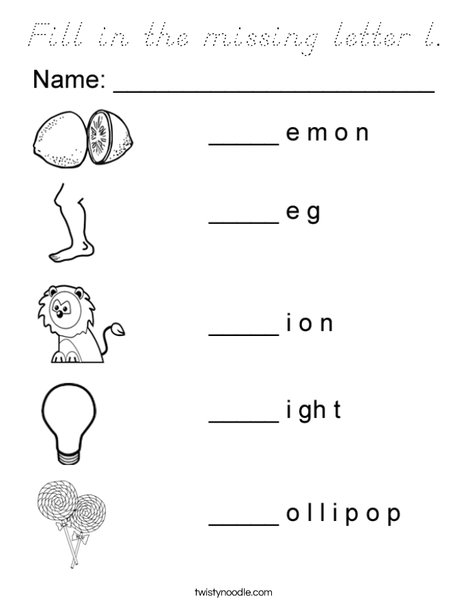 Fill in the missing letter l Coloring Page