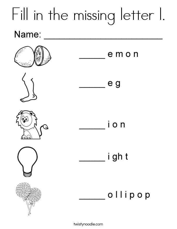 Fill in the missing letter l. Coloring Page