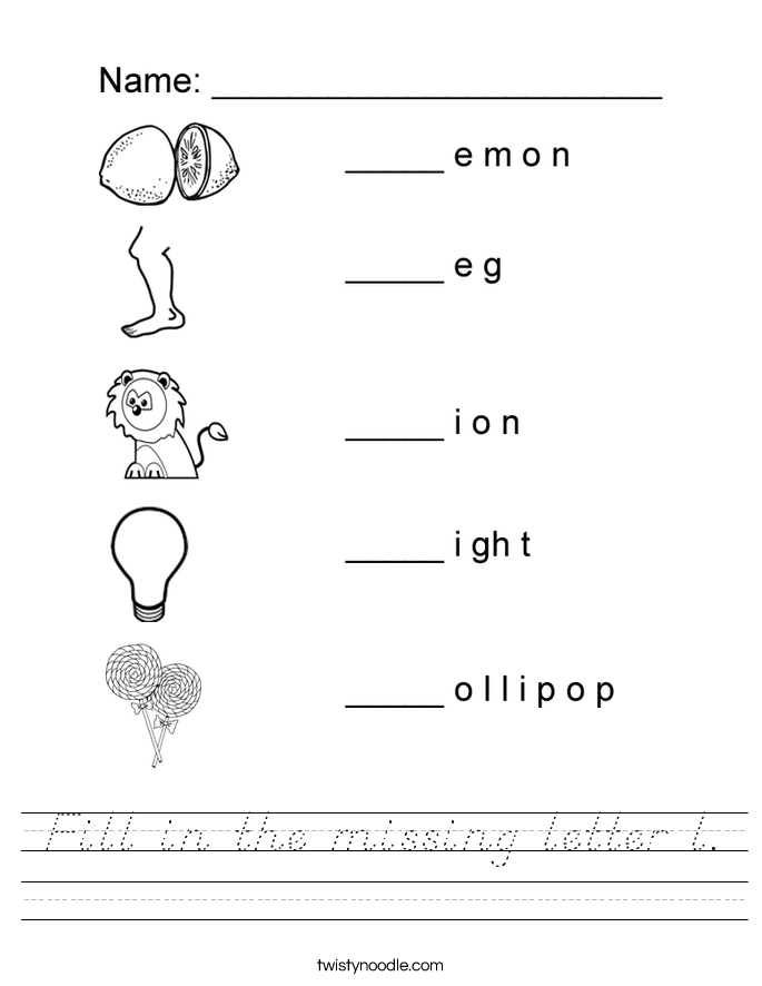 Fill in the missing letter l. Worksheet