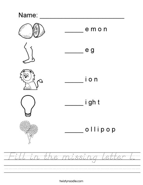 Fill in the missing letter l Worksheet