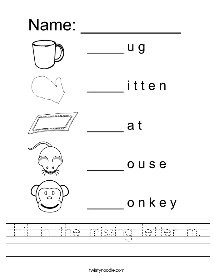Fill in the missing letter m Worksheet - Twisty Noodle