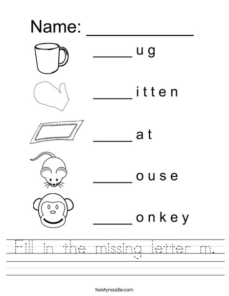 fill in the missing letter m worksheet twisty noodlefill in the missing letter m worksheet