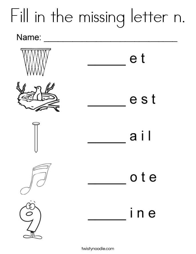 Fill in the missing letter n. Coloring Page