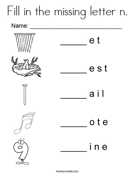 Fill in the missing letter n Coloring Page