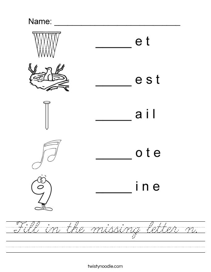 Fill in the missing letter n. Worksheet