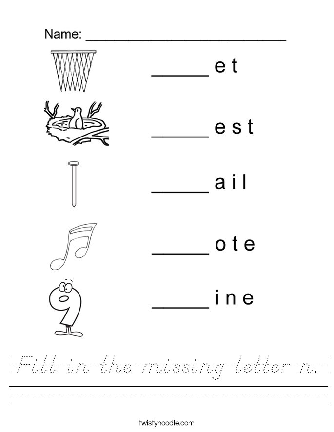 Fill in the missing letter n. Worksheet