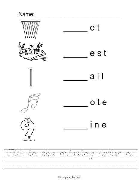 Fill in the missing letter n Worksheet
