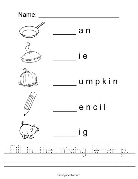 Fill in the missing letter p Worksheet
