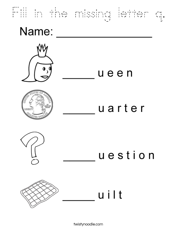 Fill in the missing letter q. Coloring Page