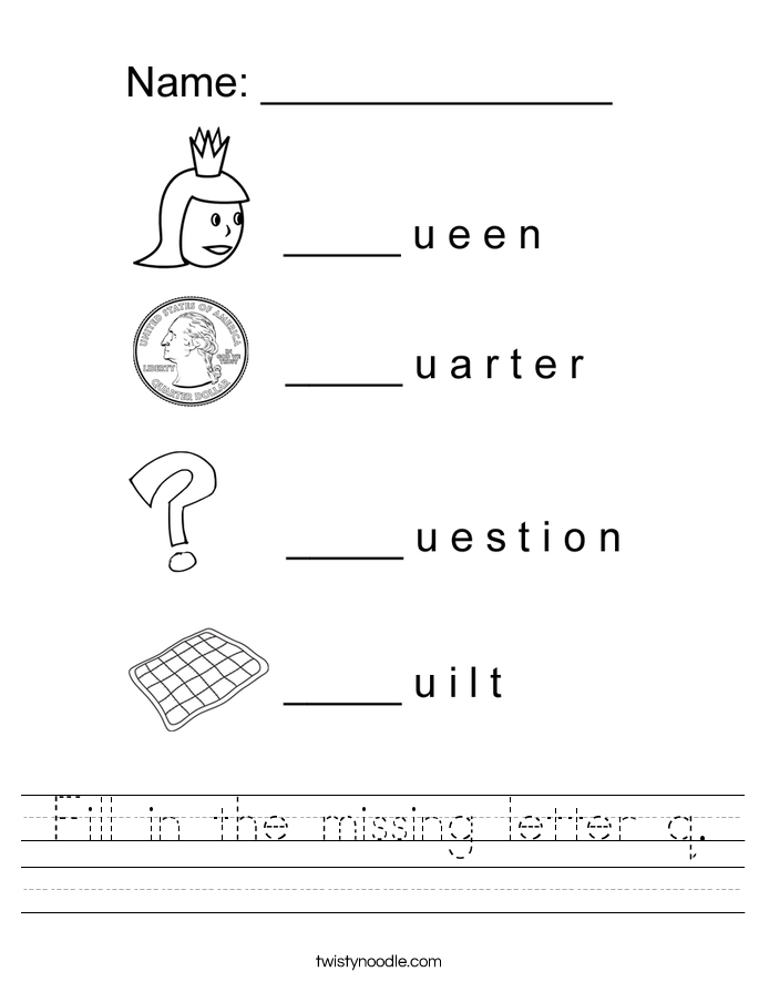 Fill In The Missing Letter Q Worksheet on Letter F Coloring Pages