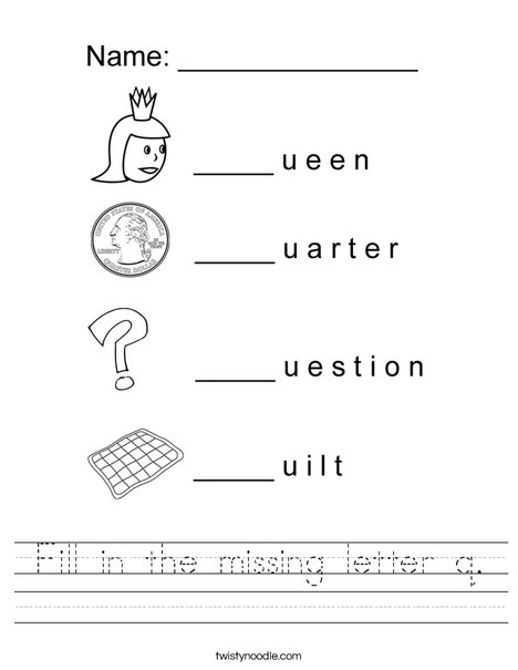 Fill in the missing letter q Worksheet