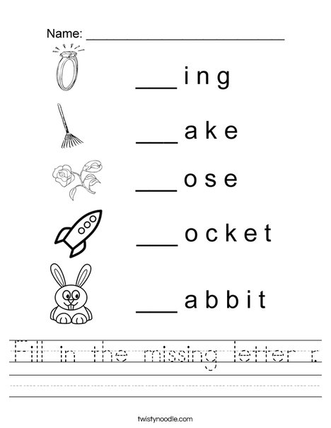 Fill in the missing letter r. Worksheet