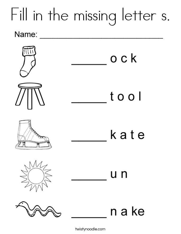 Fill in the missing letter s. Coloring Page