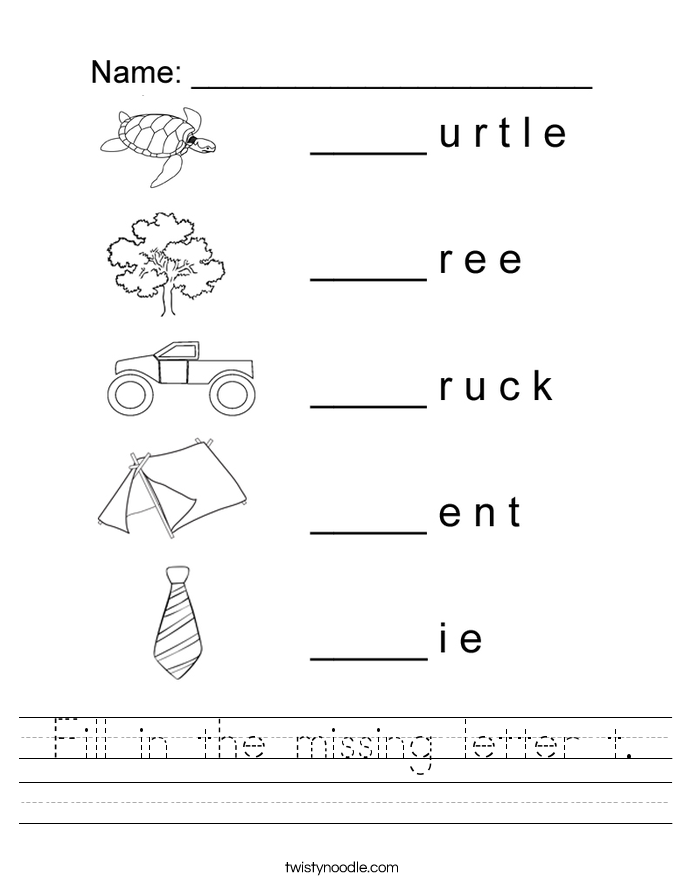 Fill in the missing letter t Worksheet Twisty Noodle – Letter T Worksheets
