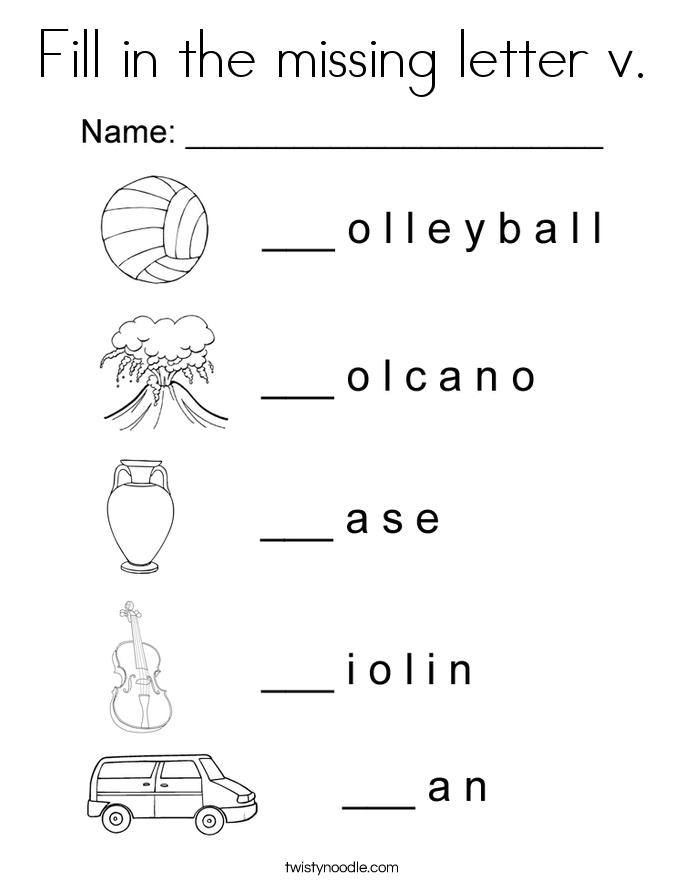 Fill in the missing letter v. Coloring Page