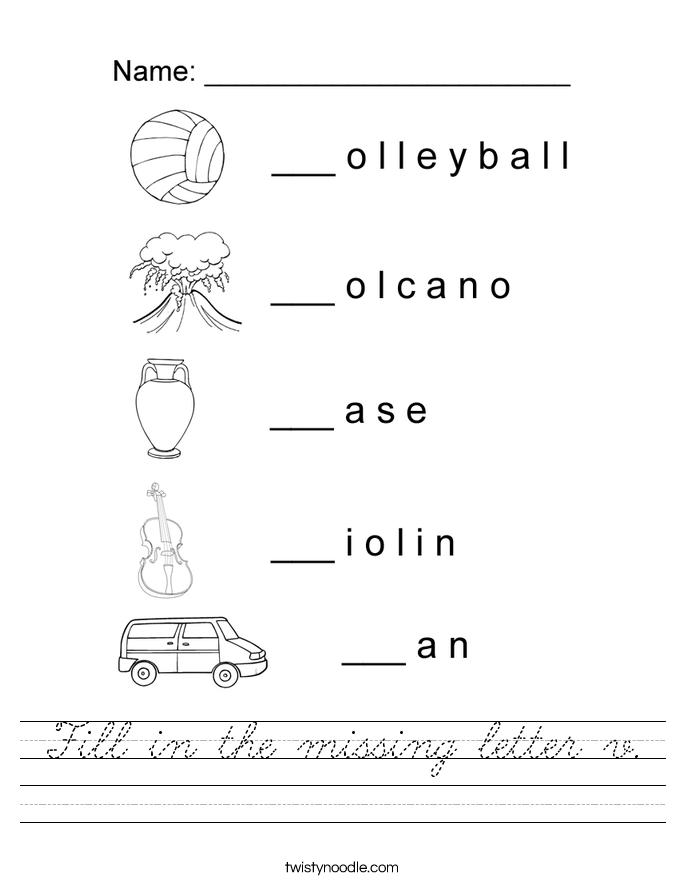 Fill in the missing letter v. Worksheet