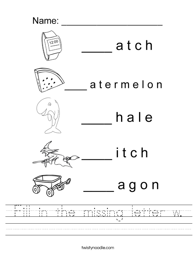 Worksheets Letter W Worksheets letter w worksheets twisty noodle fill in the missing handwriting sheet