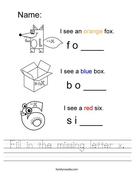 Fill in the missing letter x. Worksheet