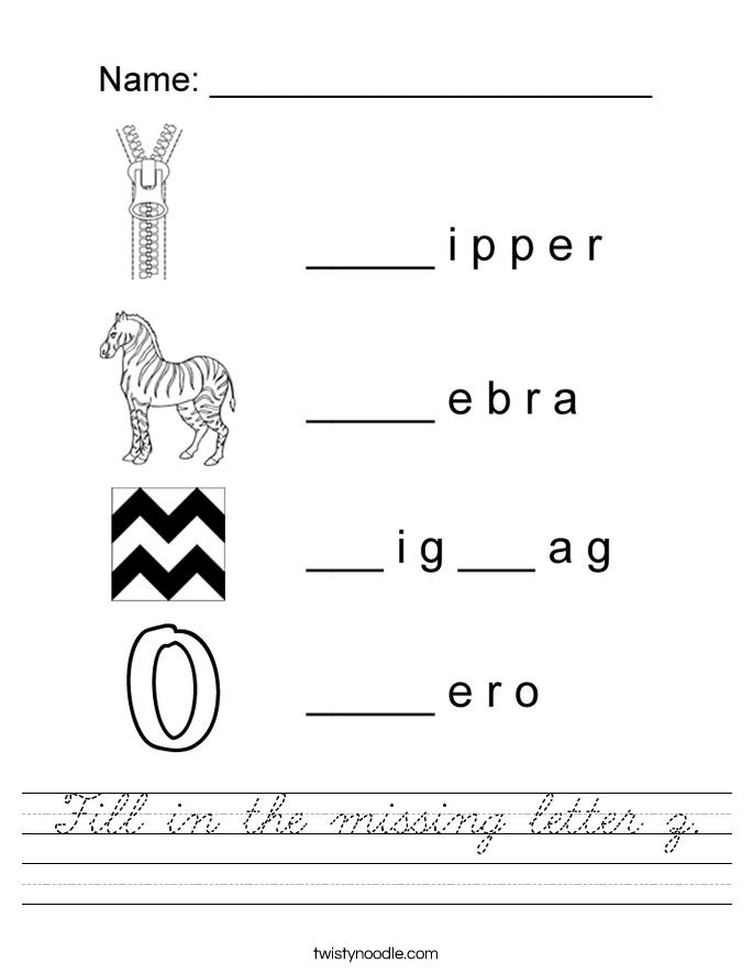Fill in the missing letter z. Worksheet
