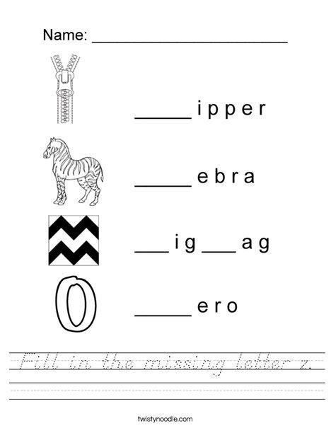 Fill in the missing letter z Worksheet