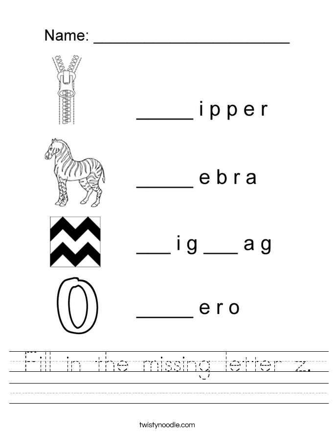 Fill in the missing letter z. Worksheet