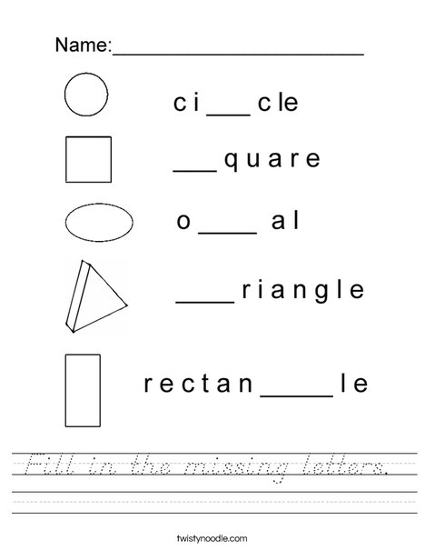 Fill in the missing letters- Shapes Worksheet