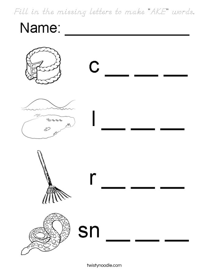 """Fill in the missing letters to make """"AKE"""" words. Coloring Page"""