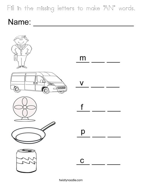 """Fill in the missing letters to make """"AN"""" Words Coloring Page"""