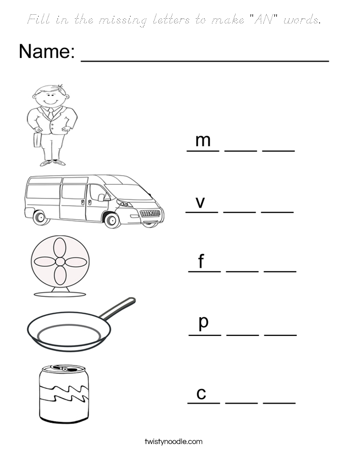 """Fill in the missing letters to make """"AN"""" words. Coloring Page"""
