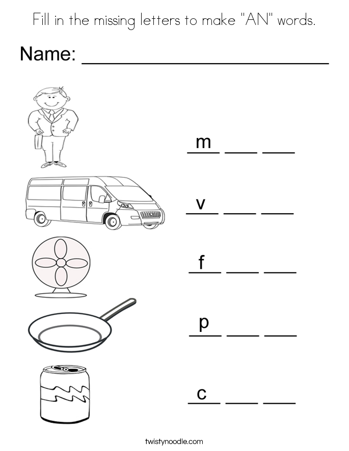 "Fill in the missing letters to make ""AN"" words. Coloring Page"
