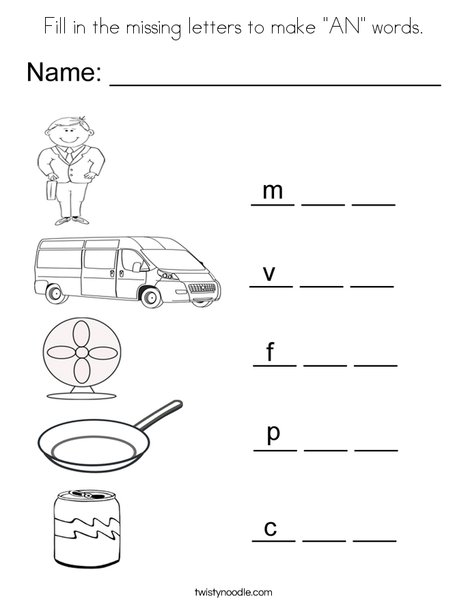 "Fill in the missing letters to make ""AN"" Words Coloring Page"